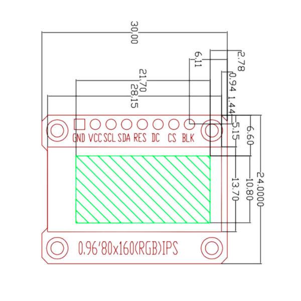 IPS дисплей 0,96' на контроллере ST7735