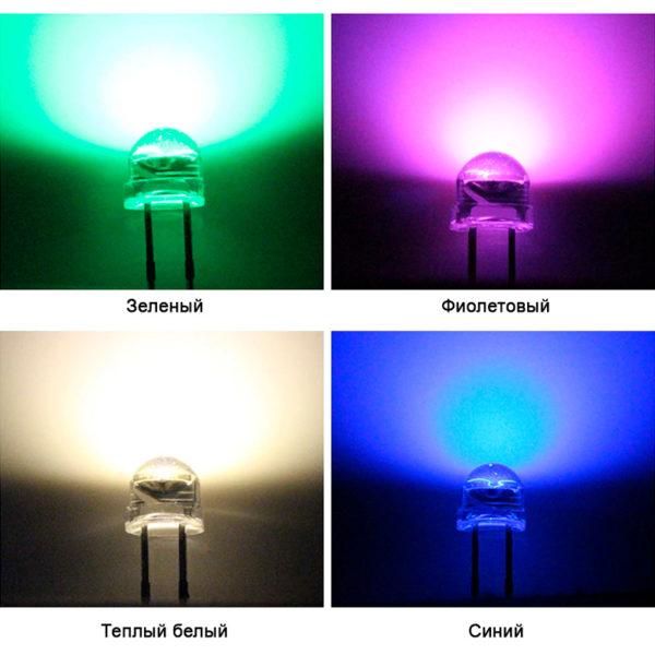5 мм Ультраяркий светодиод (5-6 лм / 0.2Вт)