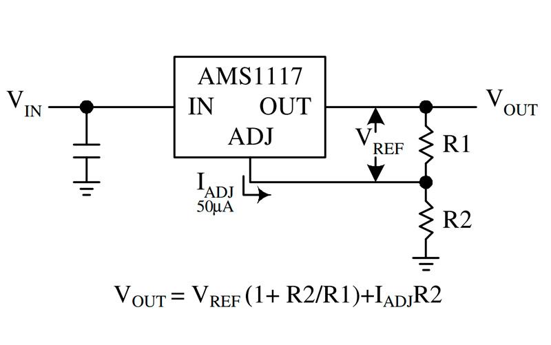 Расчет резисторов для напряжения AMS1117 ADJ