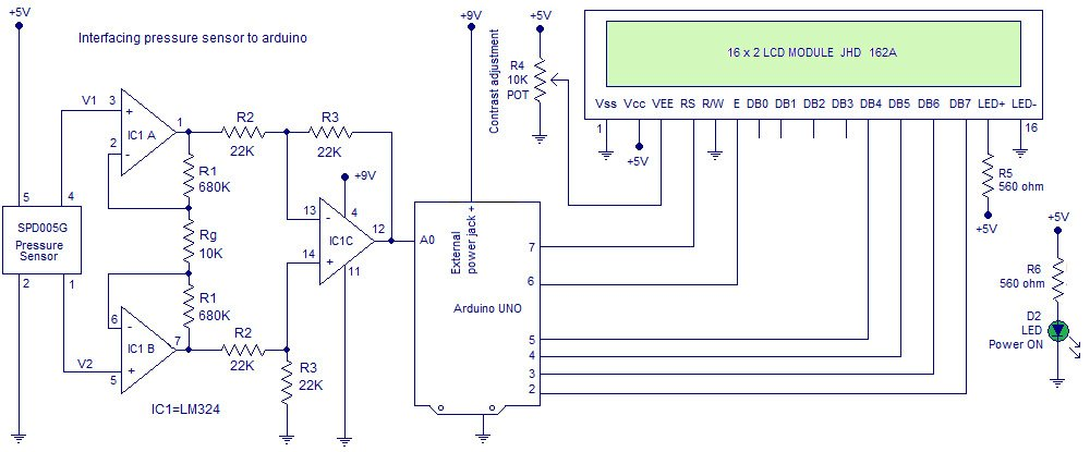 Схема подключения датчика давления SPD005G к Arduino