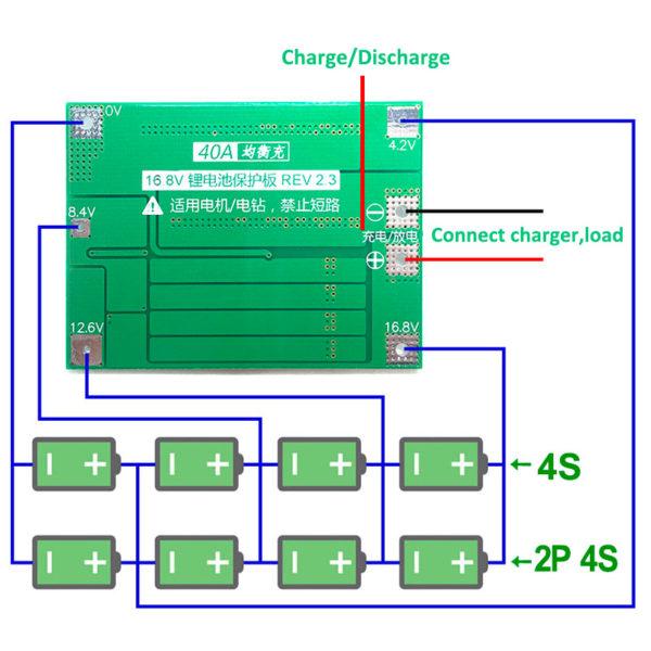 BMS 4S 40A, 14.8В, 16.8 В - контроллер заряда Li-ion АКБ с защитой и балансировкой