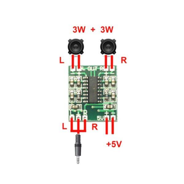 Аудио усилитель 2*3 Вт кл. D (PAM8403)