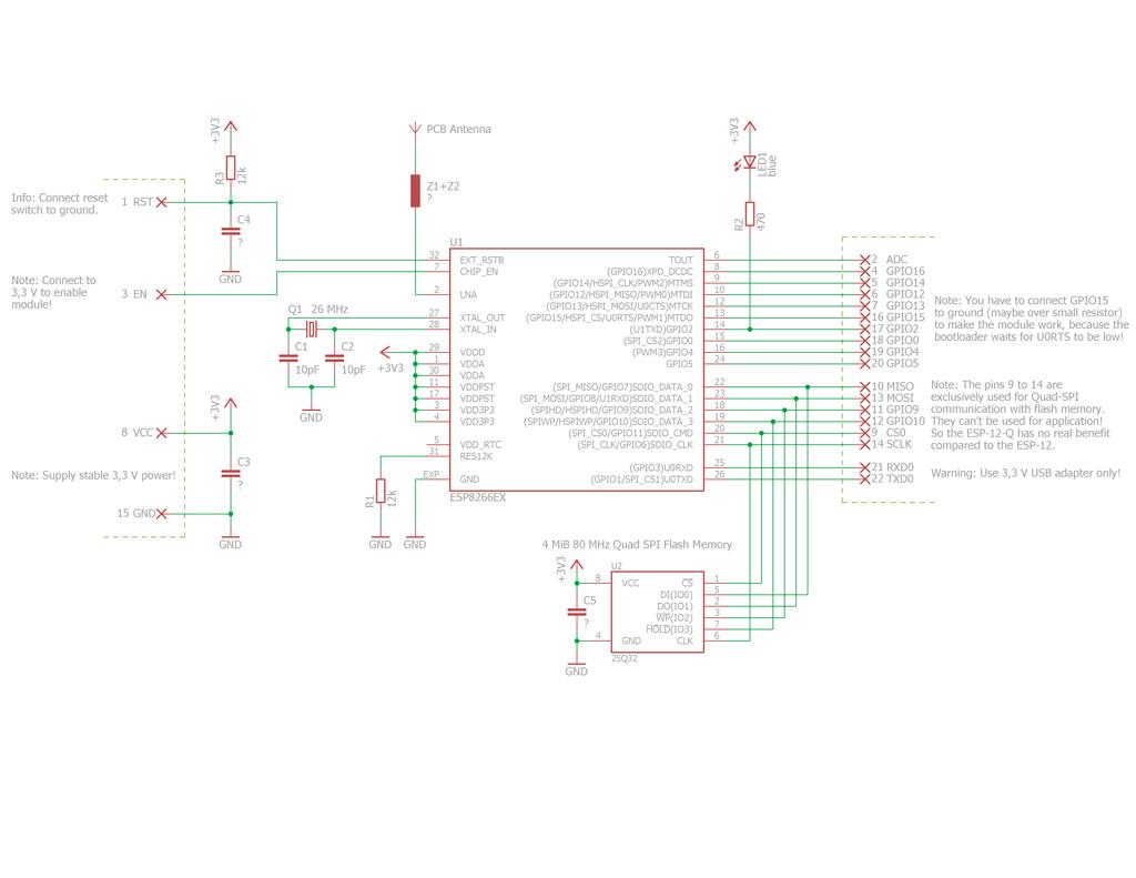 Принципиальная схема ESP8266