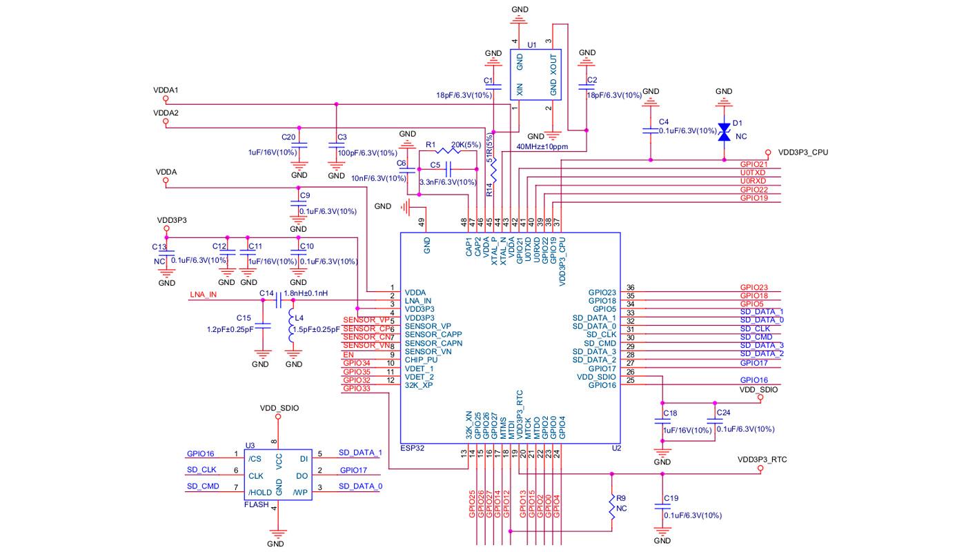 Принципиальная схема ESP-32