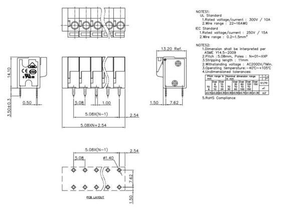 KF142V - пружинный клеммный блок KF128-5.08