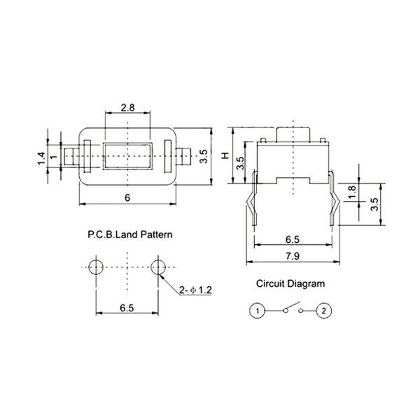 KLS-7 (TS-1136) - миниатюрная кнопка SWT 3.5x6x5