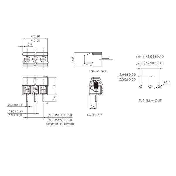 Клеммник - 3 контакта, 3.5мм, прямой (MF350-3.50-03P)