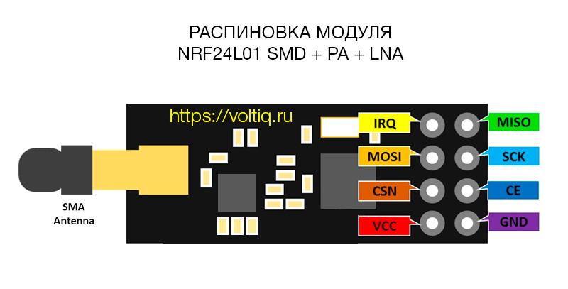 NRF24L01 2.4G+PA+LNA - распиновка и схема подключения