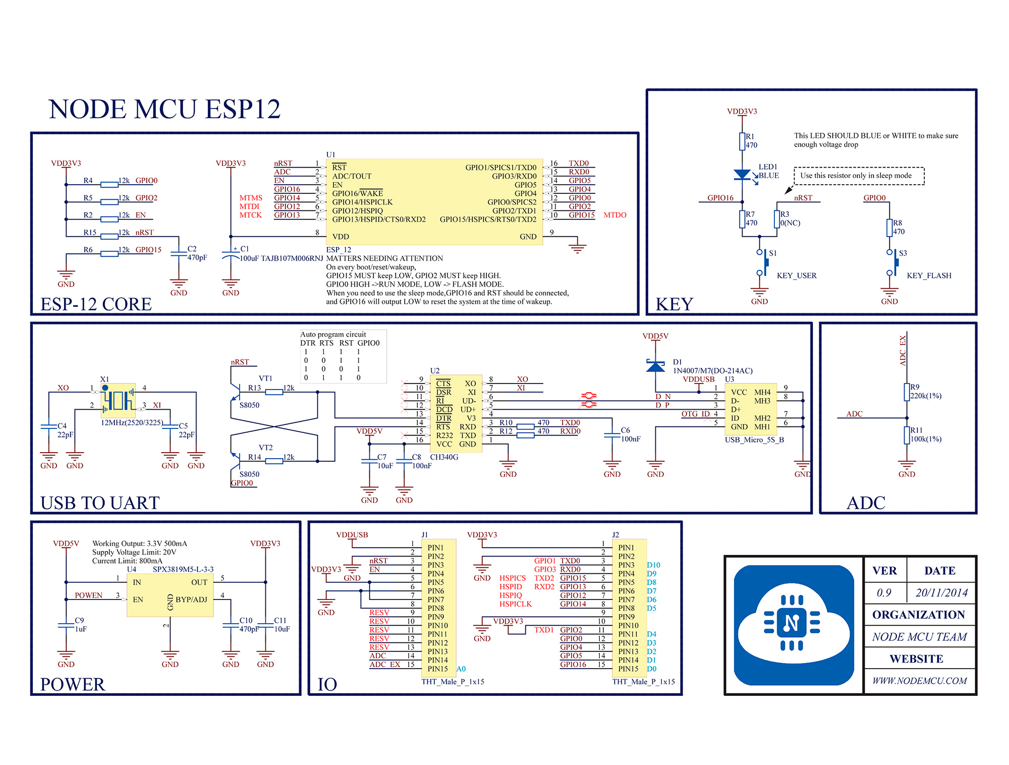Принципиальная схема NodeMCU ESP-12