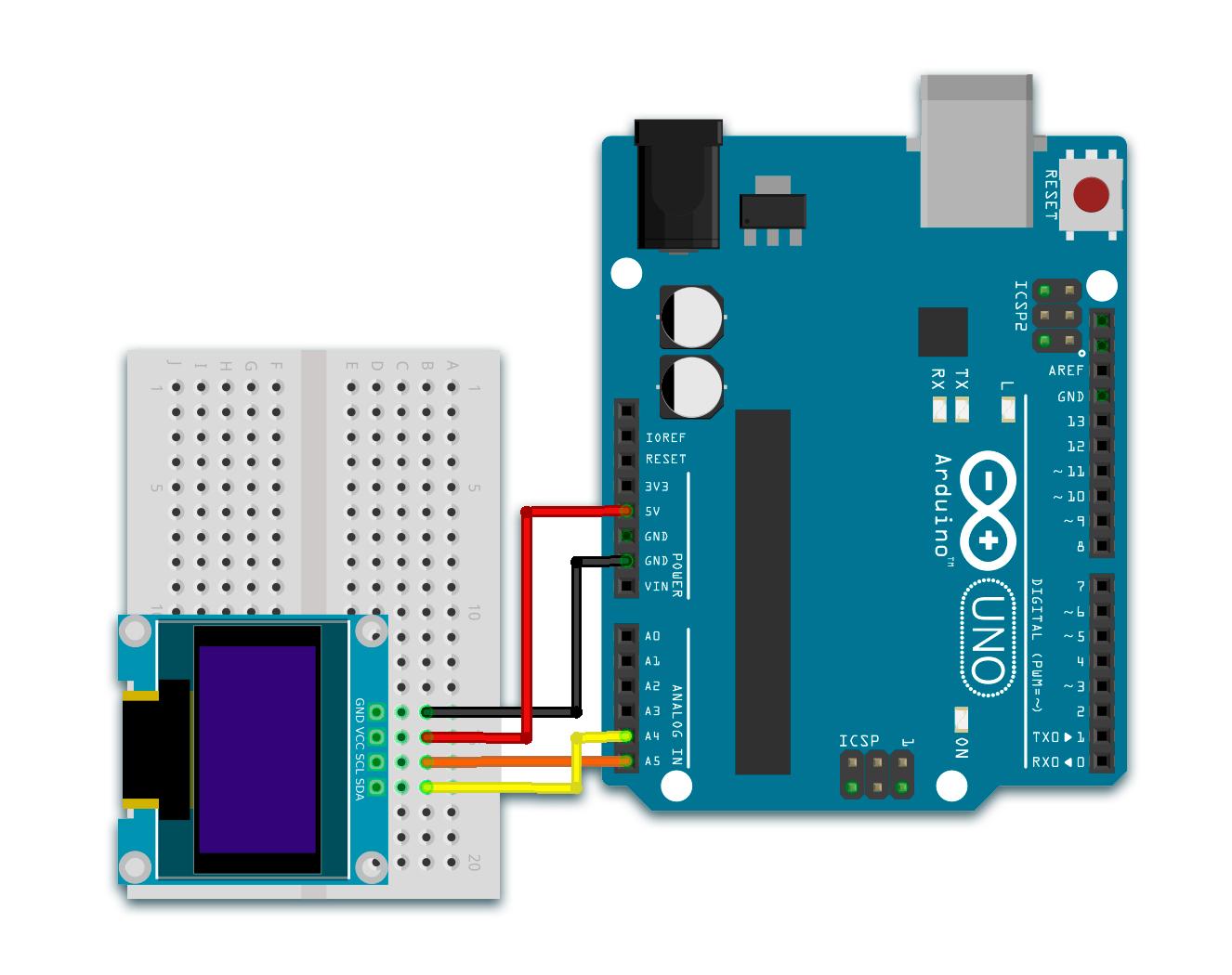 OLED I2C 128 x 64 px - схема подключения к Arduino