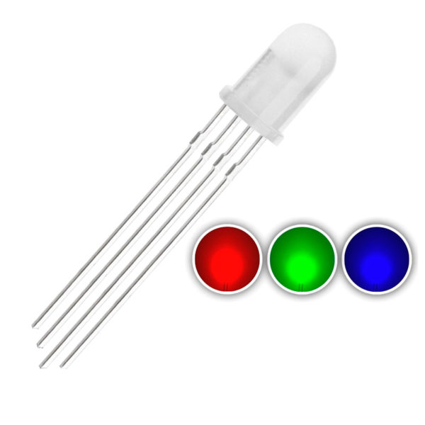RGB светодиод (5 мм, с рассеивателем) с общим катодом