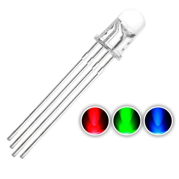 RGB светодиод (5 мм прозрачный) с общим катодом