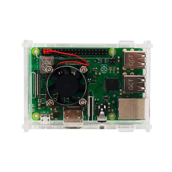 Акриловый корпус для Raspberry Pi 3 B / B+ с вентилятором
