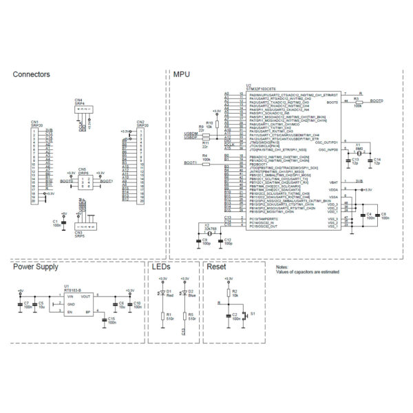 STM32F103C8T6 - схема распиновки
