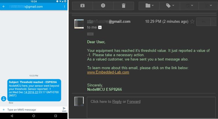 Отправка письма на электронную почту или СМС при помощи ESP8266