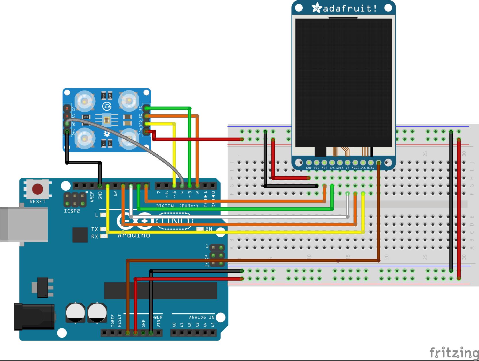 Схема подключения TCS230 к Arduino