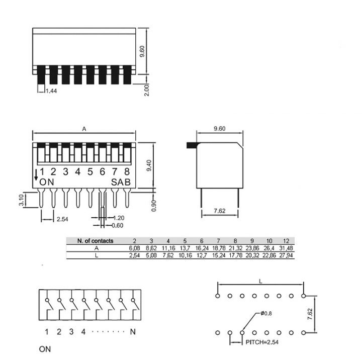 Угловой DIP-переключатель PIANO DP-08
