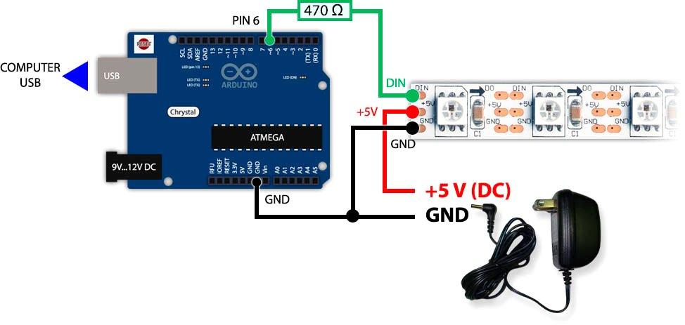 Arduino и адресная светодиодная лента WS2812B