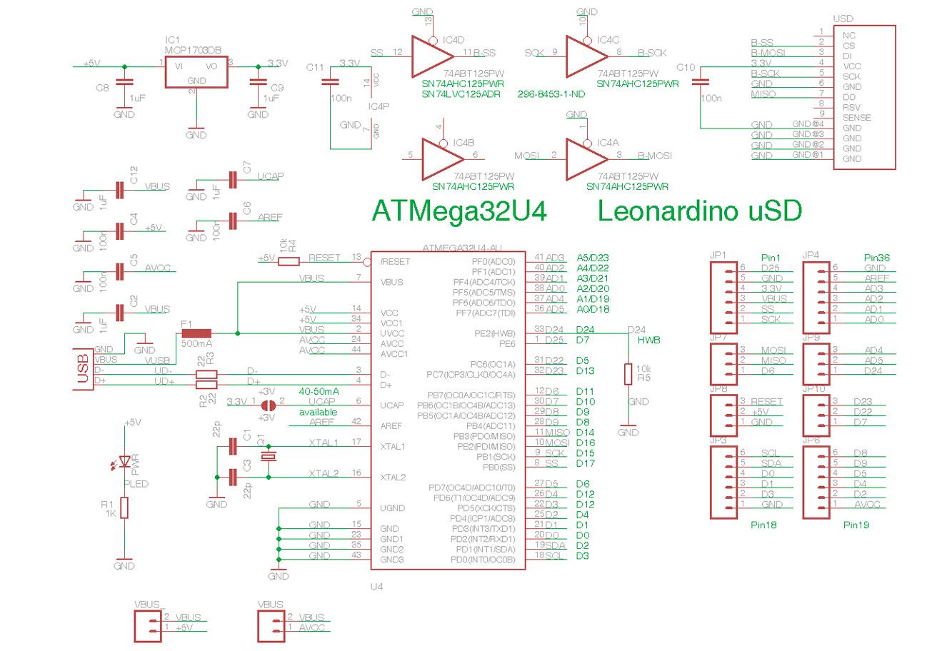 Принципиальная схема Arduino Leonardo
