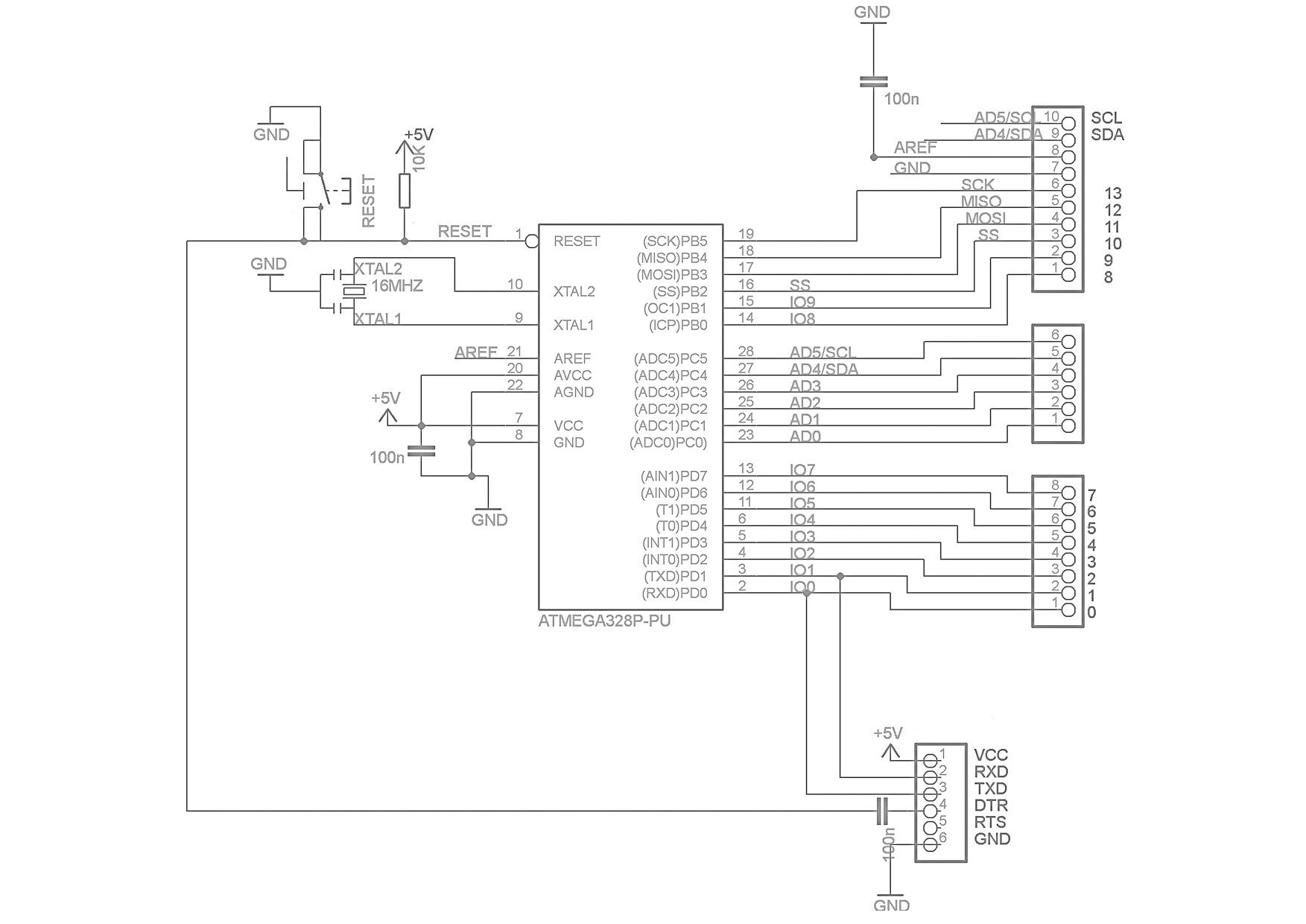 Принципиальная схема Arduino LilyPad