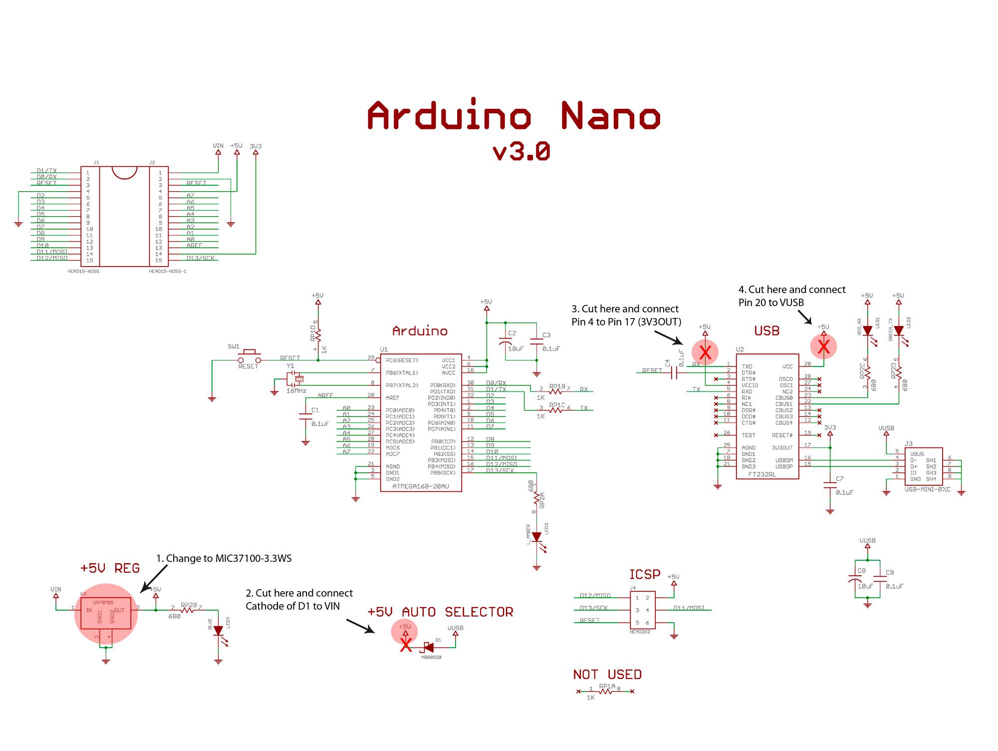Принципиальная схема Arduino Nano