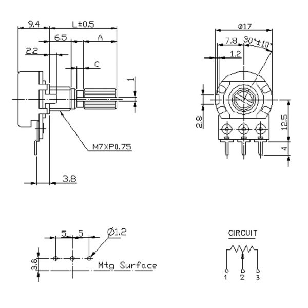 Потенциометр серии WH148