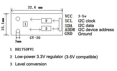 Датчик освещенности (Люксы) GY-30 на базе BH1750FVI