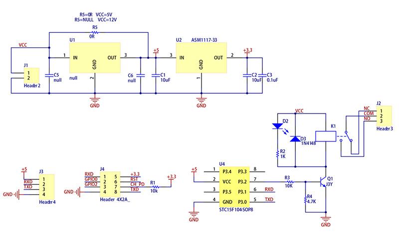 ESP8266 с реле схема модуля