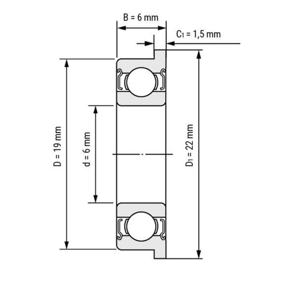F626ZZ — фланцевый подшипник 6x19x6 мм для 3D принтера