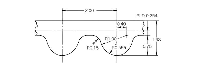 Зубчатый ремень GT2 чертеж