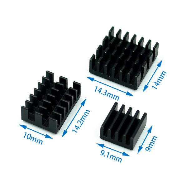 Набор радиаторов для Raspberry Pi 4 (алюминиевые, 3шт.)