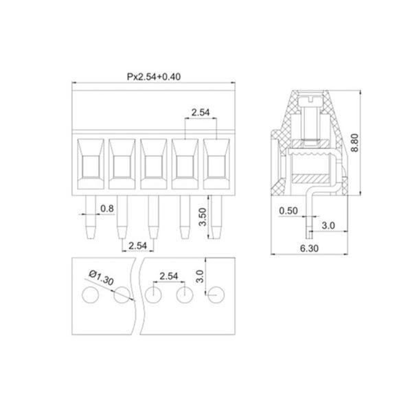Клеммная колодка KF128 ( шаг 2.54 мм)