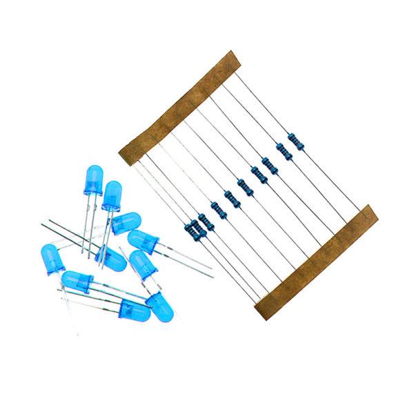 Синие светодиоды 5мм + резисторы 220 Ом (по 10шт.)