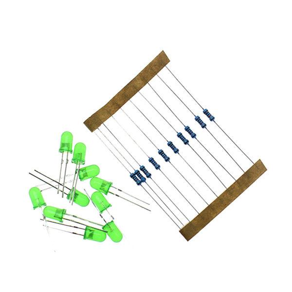 Светодиоды, 5 мм, зеленые, и резисторы, по 10 шт.