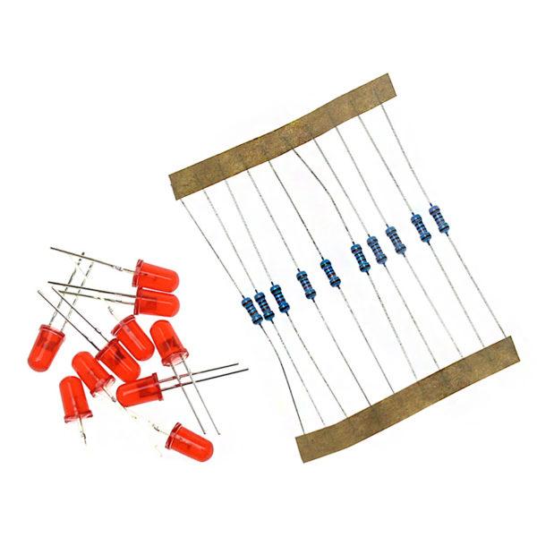 Красные светодиоды 5мм + резисторы 220 Ом (по 10шт.)