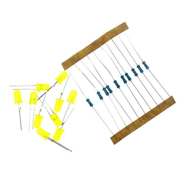Светодиоды, 5 мм, желтые, и резисторы, по 10 шт.