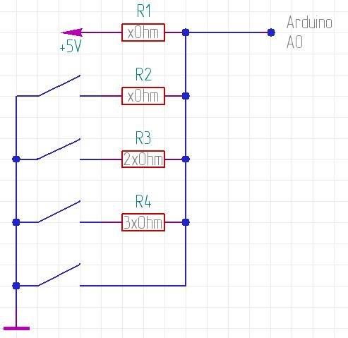 Подключение кнопок к одному аналоговому входу Arduino