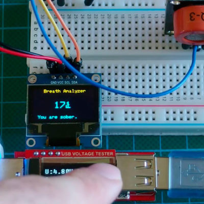 Алкотестер на базе датчика MQ3 с OLED дисплеем