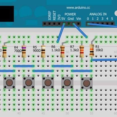 Подключение нескольких кнопок к одному аналоговому входу Arduino