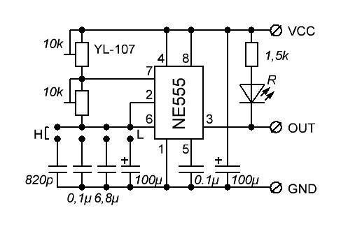 Схема генератора импульсов NE555