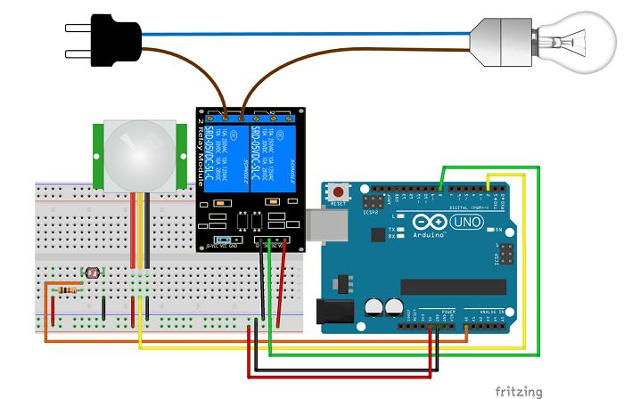 Ночник с датчиком движения на Arduino