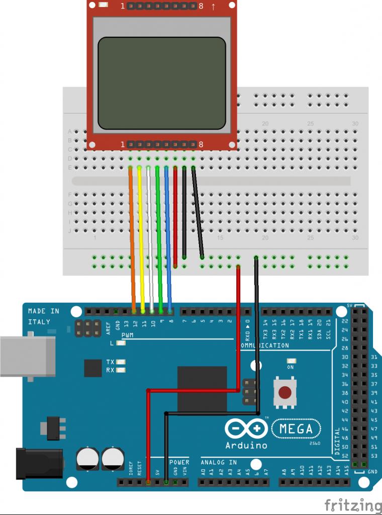 Подключение дисплея Nokia 5110 к Arduino