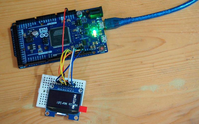 OLED 128x64px SPI - схема подключения к Arduino