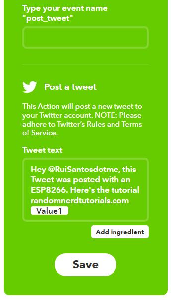 Как опубликовать сообщение в твиттере при помощи ESP8266