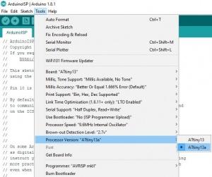 Создание приложений для ATTINY13/ATTINY13A в среде Arduino IDE
