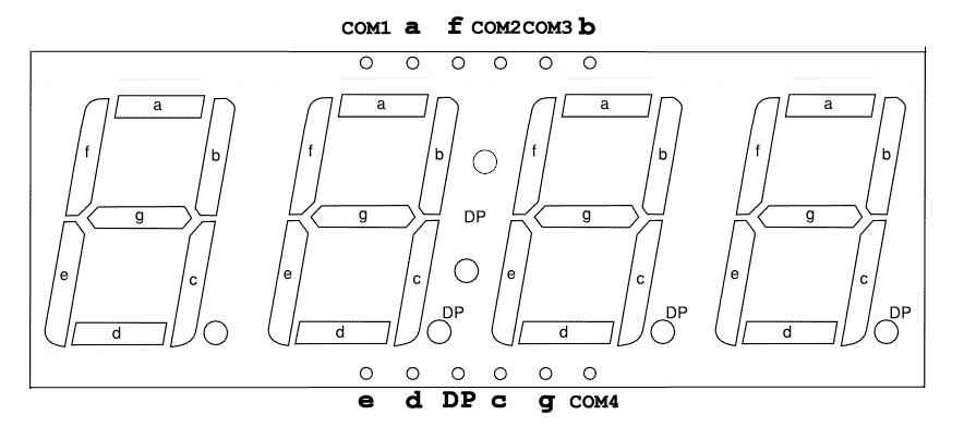 Распиновка 7-сегментного 4-разрядного индикатора