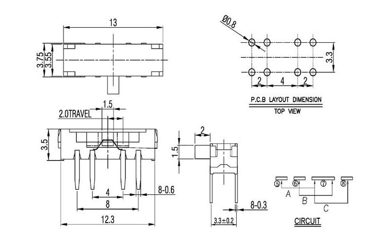 Схема движкового переключателя MSK-23D18