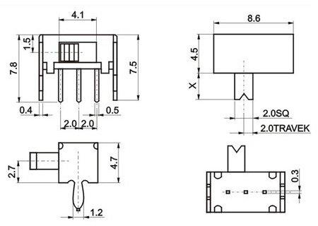 Движковый переключатель SK-12D07VG5.5