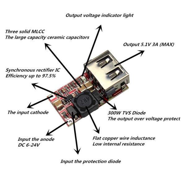 Понижающий DC-DC преобразователь (6-24В - 5В USB)