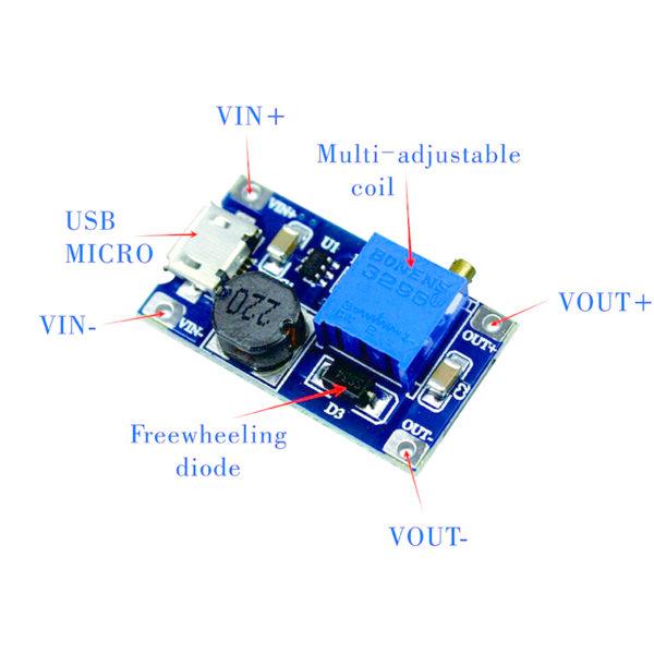 XY-016 - повышающий DC-DC преобразователь с Micro-USB (2-24В - 5-28В)